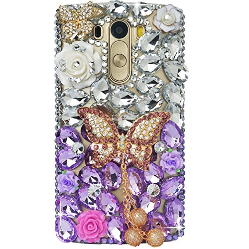 STENES LG Fortune Case - 3D Handmade Luxury Crystal Butterfly Pearl Pendant Rose Flowers Sparkle Rhinestone Design Cover Bling Case For LG Aristo/Fortune/LV3 With Retro Bowknot Dust Plug - Purple