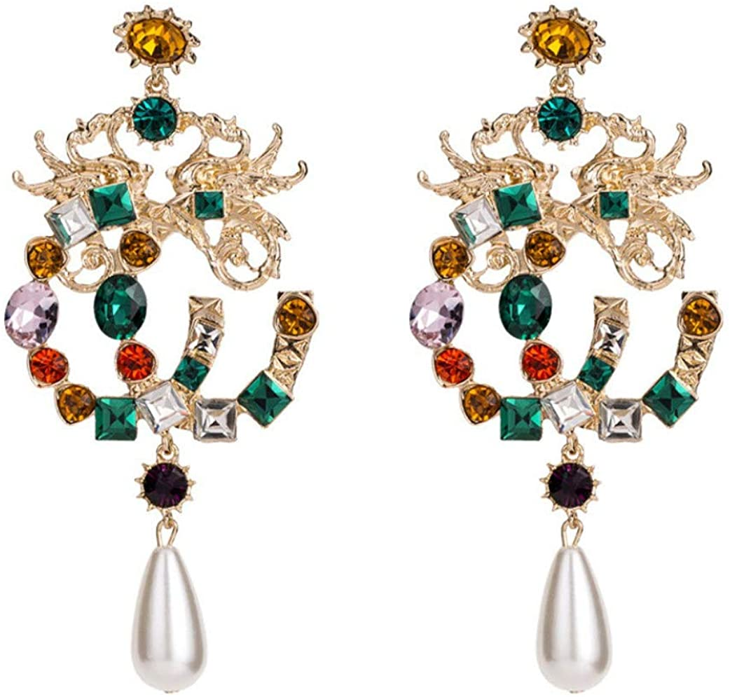 New Arrival Occident Fashion Brand Style Dragon and Phoenix Color stones Letter Big Drop Earrings