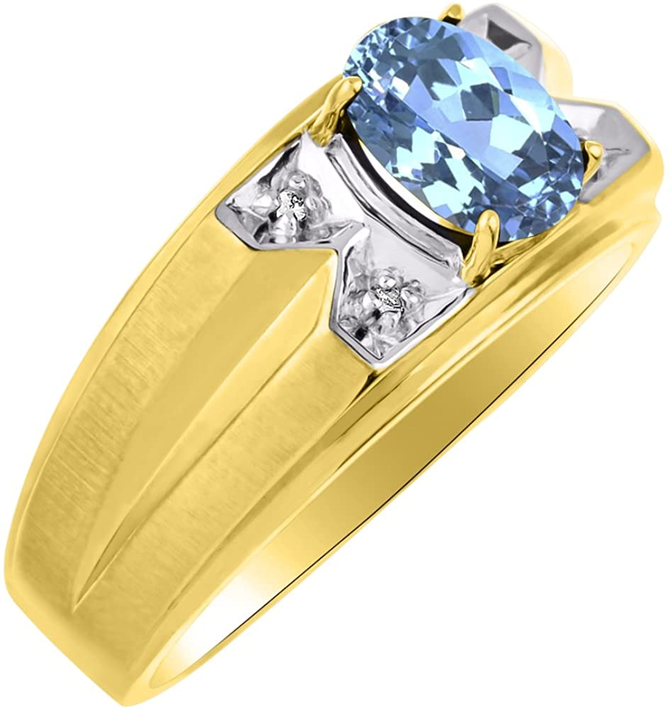 Diamond & Blue Topaz Ring Sterling Silver or Yellow Gold Plated