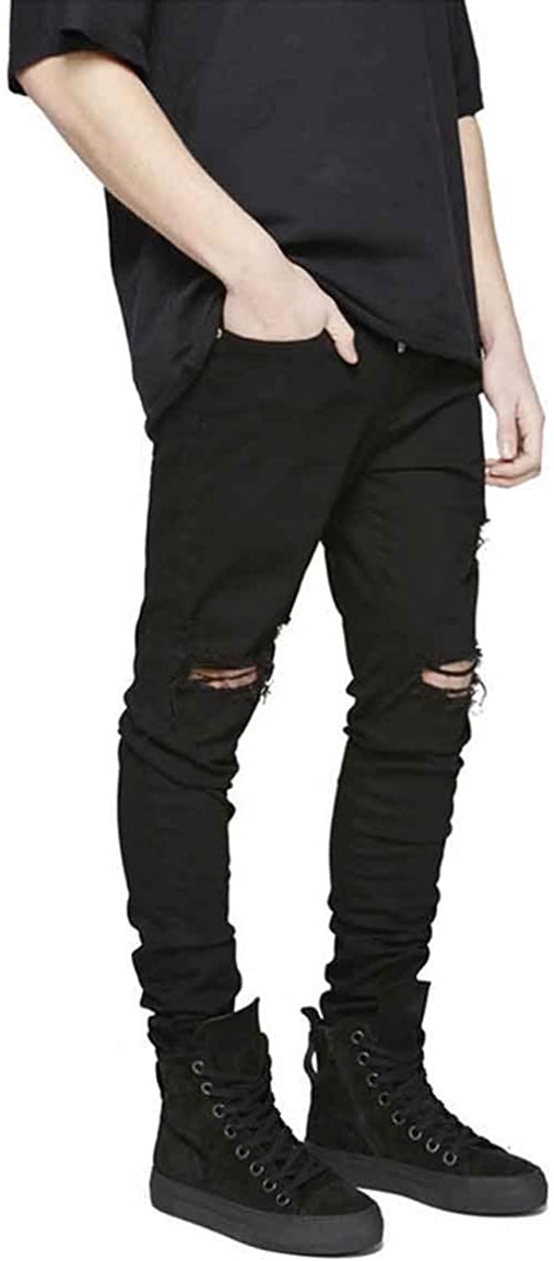 Hungson Men's Ripped Slim Fit Skinny Destroyed Distressed Tapered Leg Jeans