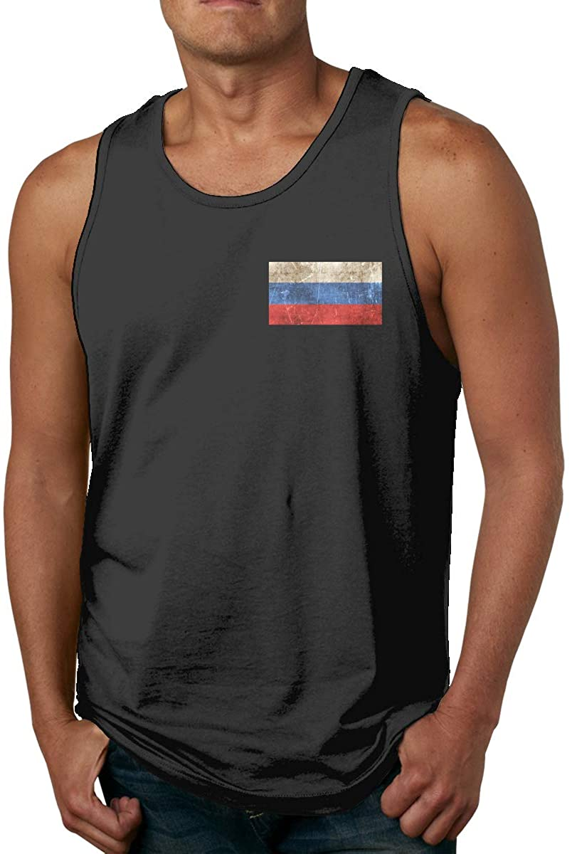 Classic Tanks Vintage Aged and Scratched Russian Flag Men's Cotton Tank Top Shirt