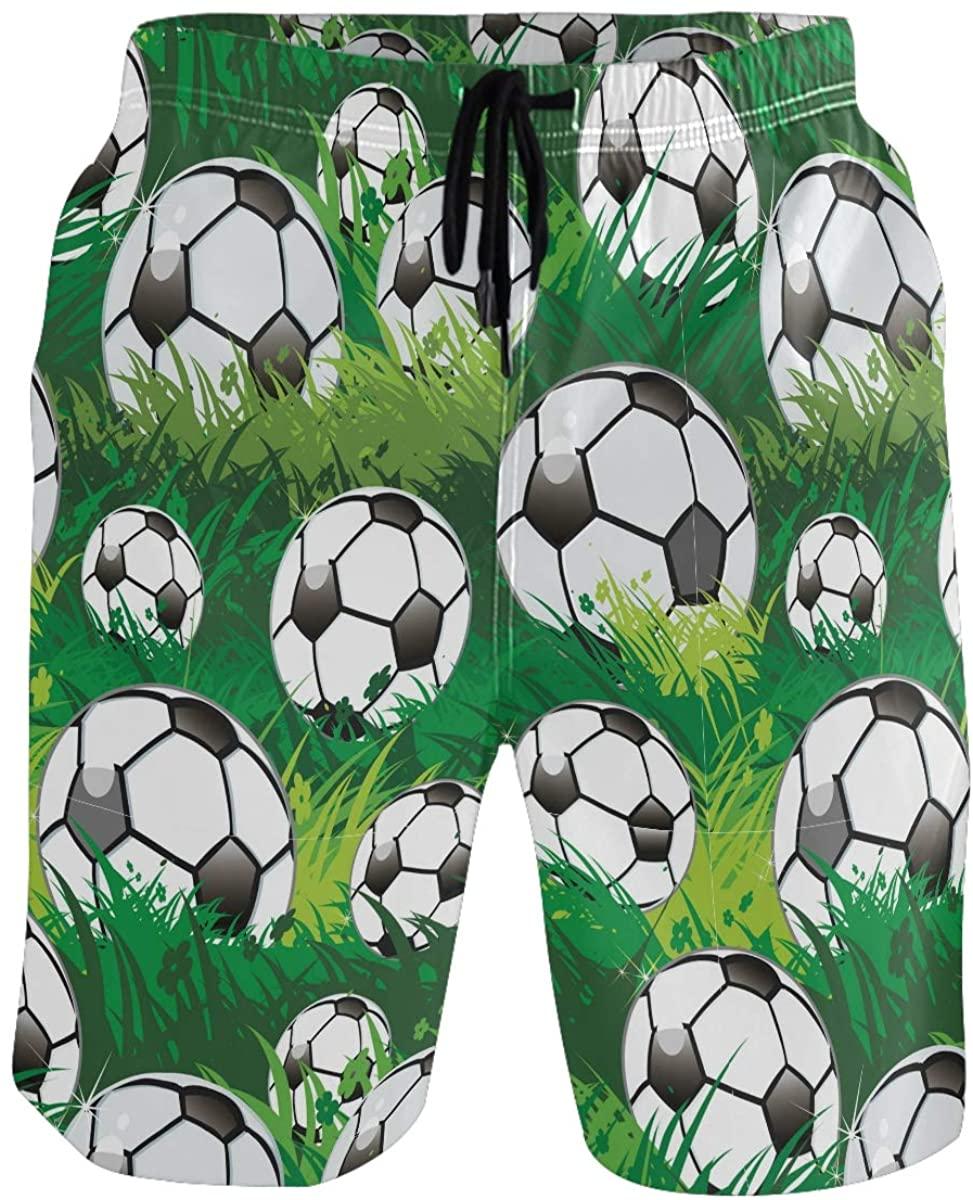 Men's Swim Trunks - Soccer Ball Grass Beach Short Men Quick Dry Short