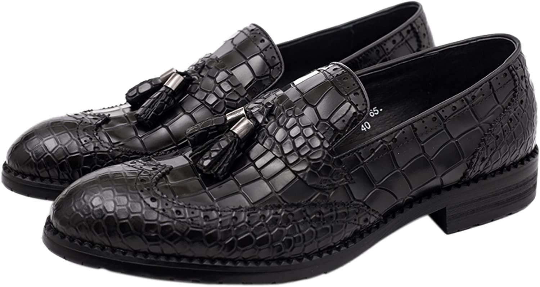Santimon Dress Shoes for Men Tassel Loafer Genuine Leather Alligator Crocodile Print Slip-On by