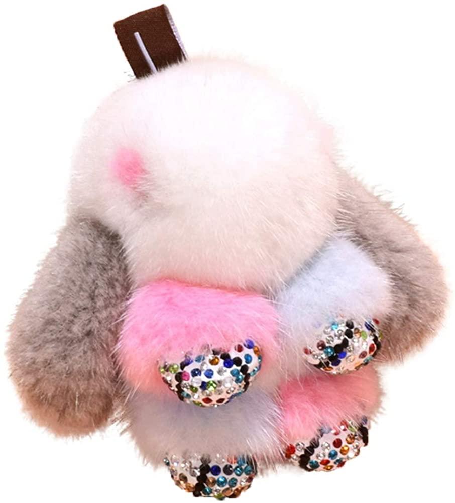 BAOBAO Fluffy Mink Fur Bunny Keychain Pendant Phone Purse Bag Charm Gifts