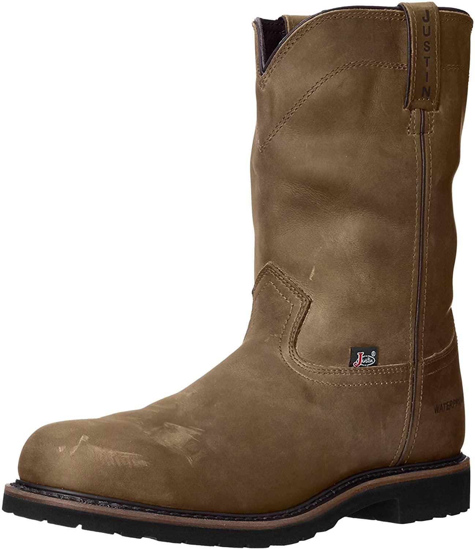 Justin Men's Drywall Waterproof Pull-On Work Boot Steel Toe Brown 6 D(M) US