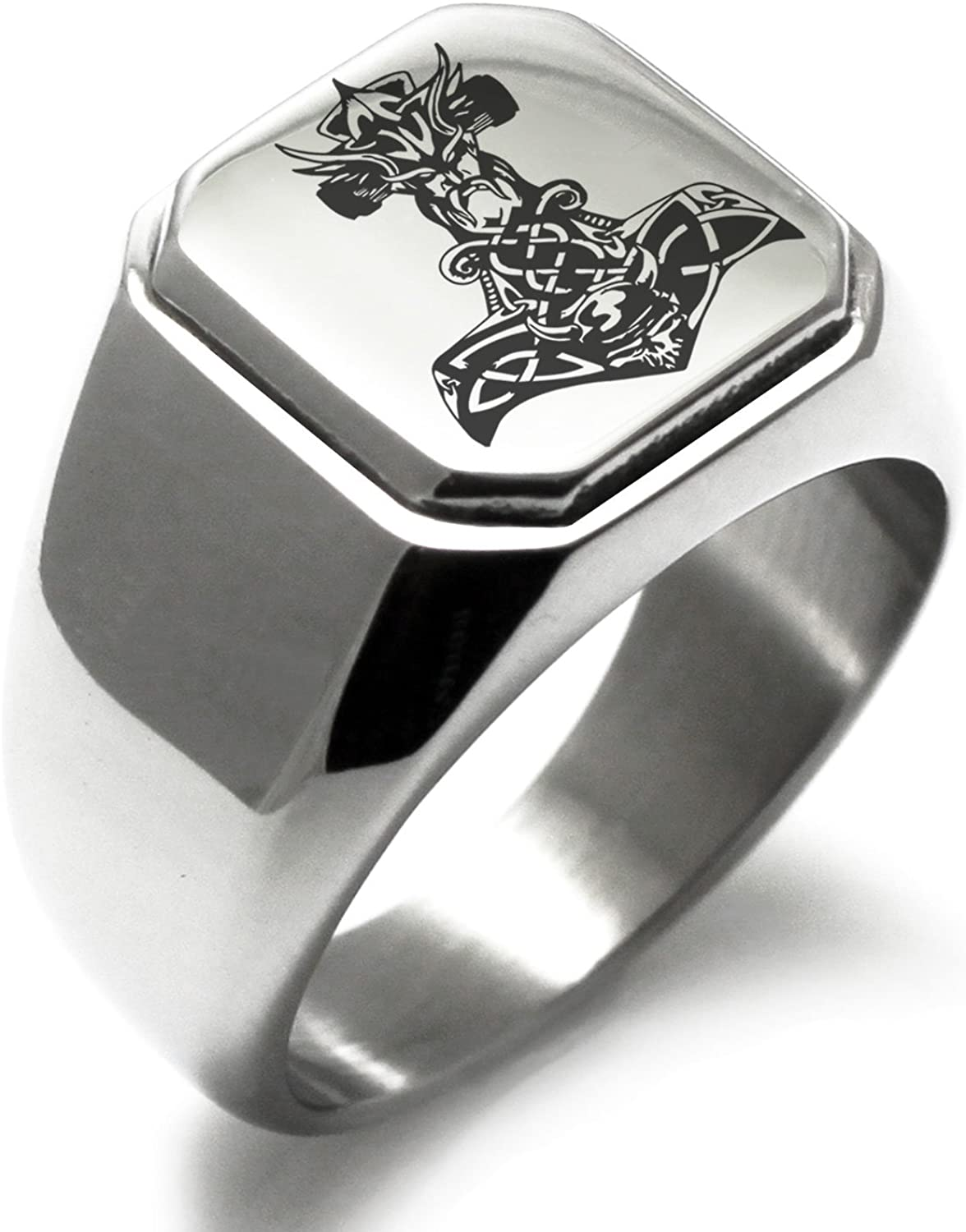 Stainless Steel Asgard Mjolnir Thor's Hammer Viking Norse Symbol Square Flat Top Biker Style Polished Ring