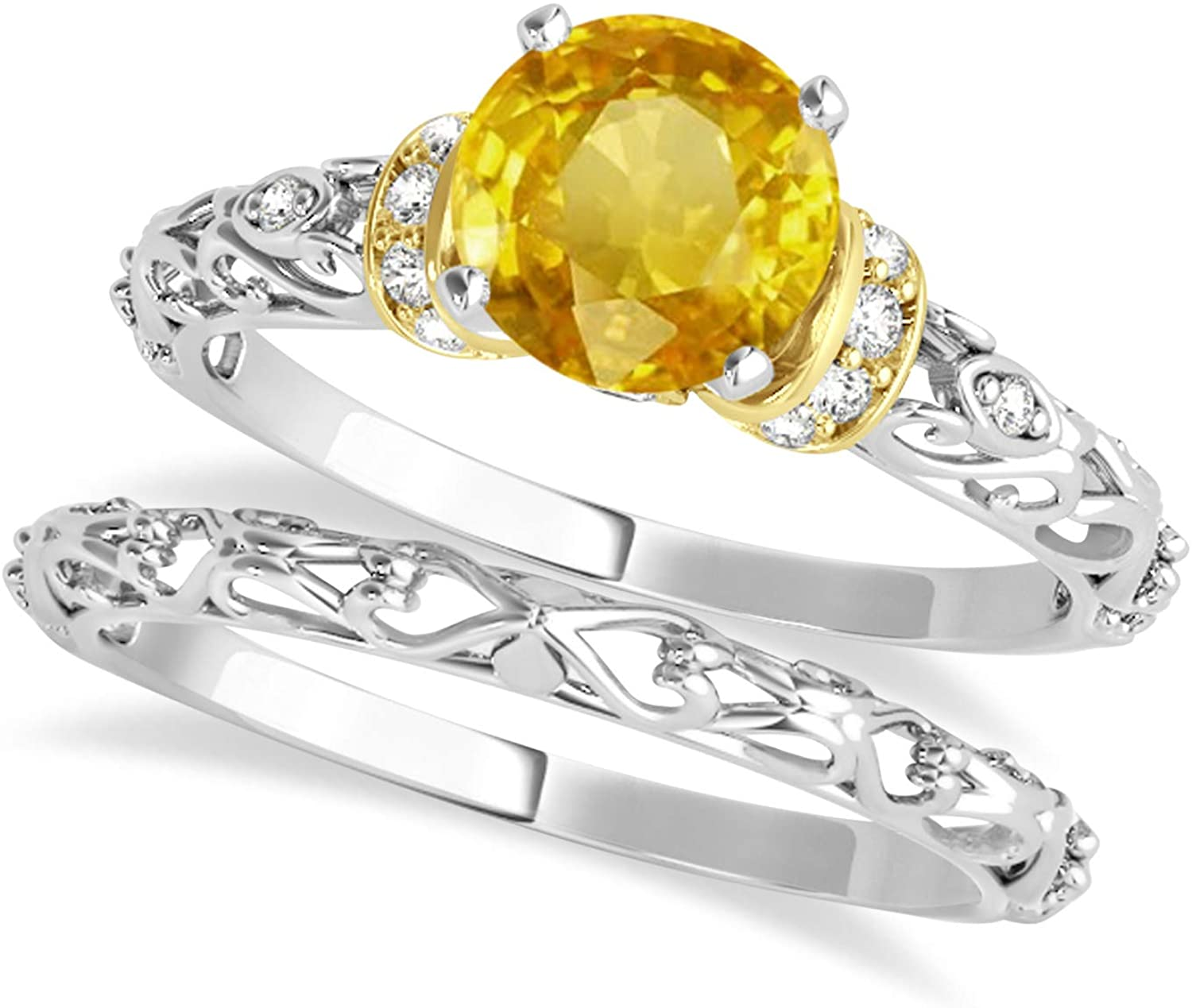 (0.87ct) 14k Two-Tone Gold Yellow Sapphire and Diamond Antique-Style Bridal Set