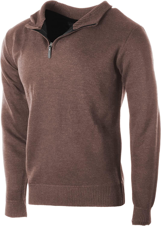 Enimay Men's Sophisticated Mid Zip Up Slim Fit Long Sleeve Turtleneck Sweater
