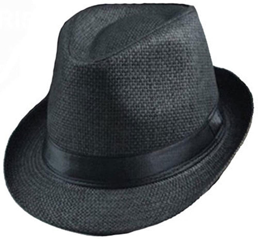 Binglinghua® Men Summer Sun Hat Beach Fashion Cap Fedora Trilby Gangster Cap Beach Sun Straw Panama