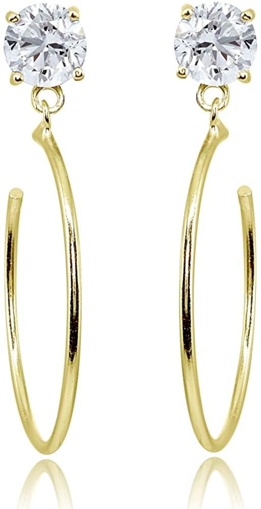 Sterling Silver Cubic Zirconia Dangling Half Hoop Stud Earrings, 4mm, 5mm, 6mm