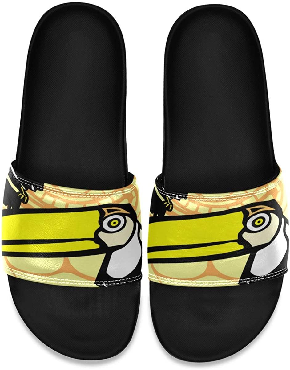 Men's Shower Slides Tropical Toucan Birds Slide Sandal, Slippers, Sandals for Men