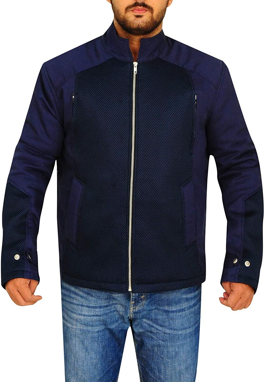 TrendHoop Men's Biker Blue Bomber Style Cotton and Net Jacket