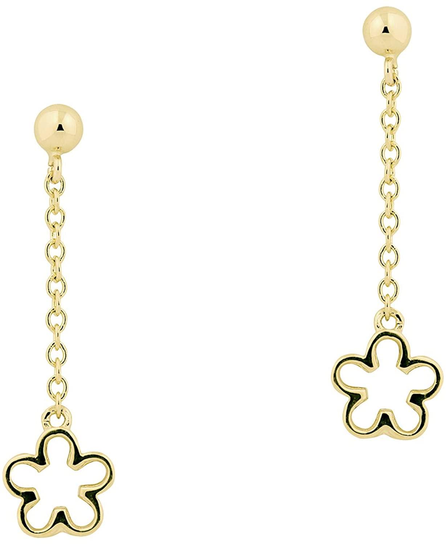 UNICORNJ Childrens Tweens Teens 14k Yellow Gold Open Flower Long Dangle Post Earrings Italy