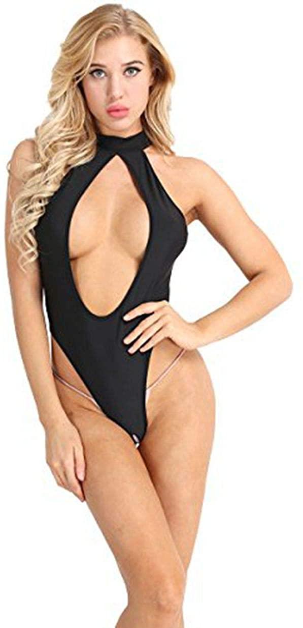 winying Womens Sleeveless Halter Neck Cutout Backless Open Crotch Lingerie Leotard Bodysuit Jumpsuit Swimwear