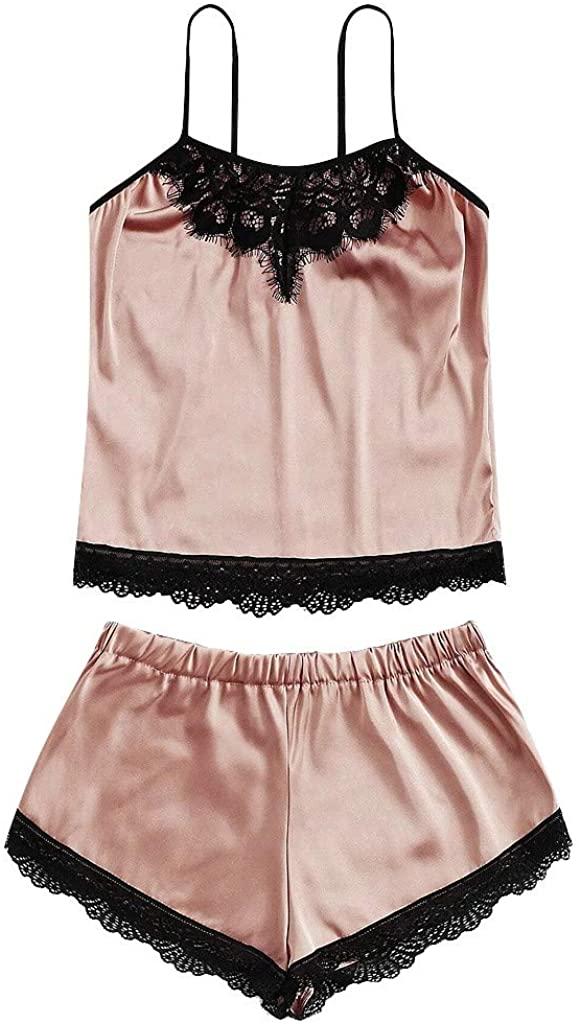 NSQFKALL Nightwear Women's Sexy Lace Lingerie Silk Underwear Sleepwear Nightdress Pajamas Satin Pyjama Sets