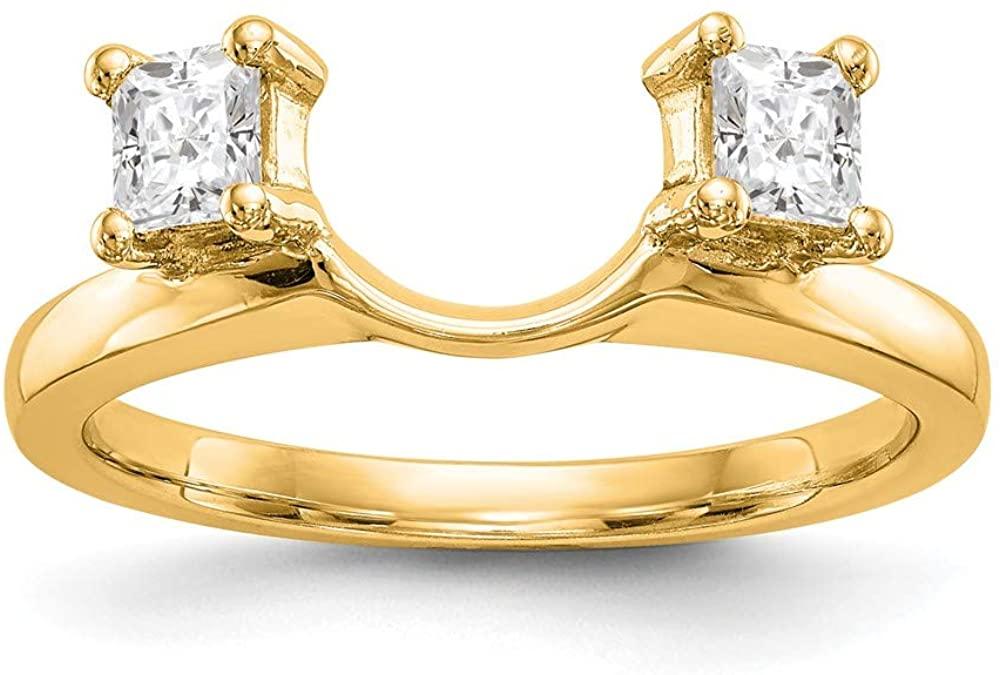 14K Yellow Gold Ring Band Diamond Wrap, Size 8