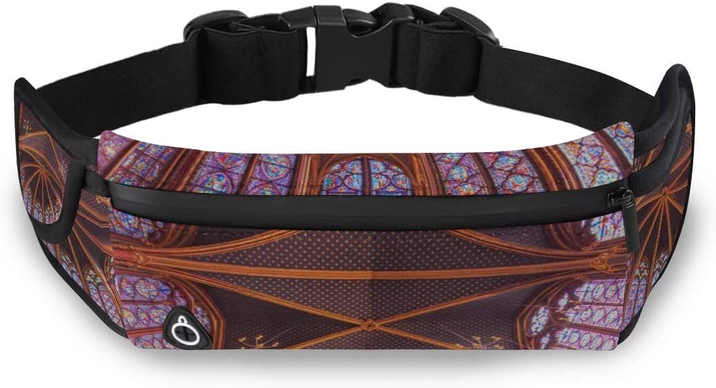 Desirable Church Rose Window Waist Pack Fashion Mens Fashion Work Bag Outdoor Waist Pack For Women With Adjustable Strap For Workout Traveling Running