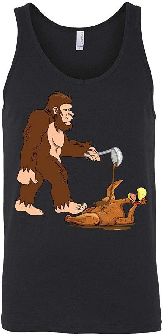 Bigfoot Turkey Tank Top Thanksgiving Pour Some Gravy On Me Gobble Til You Wobble Cranberry Black