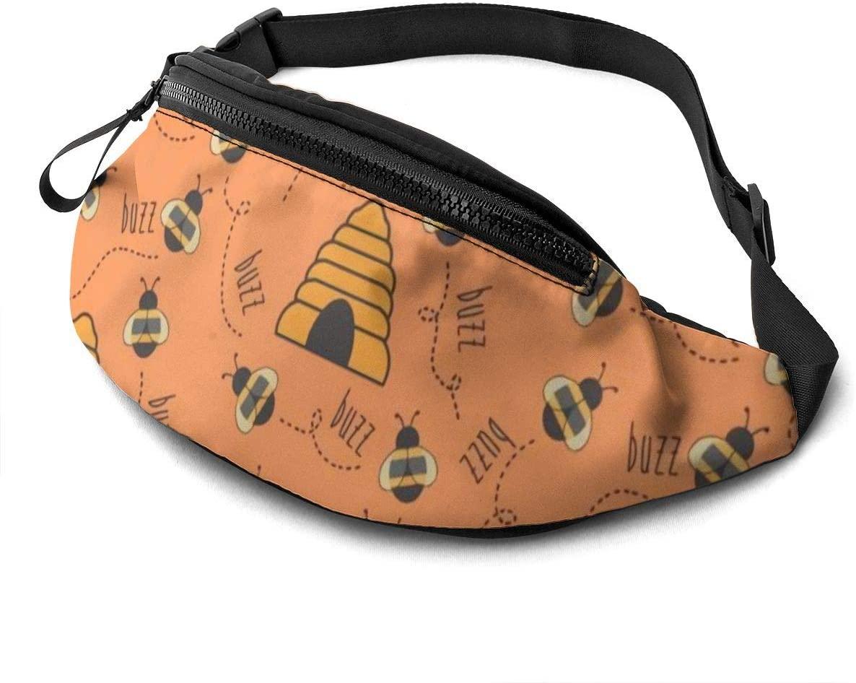 Honey Fanny Pack for Men Women Waist Pack Bag with Headphone Jack and Zipper Pockets Adjustable Straps