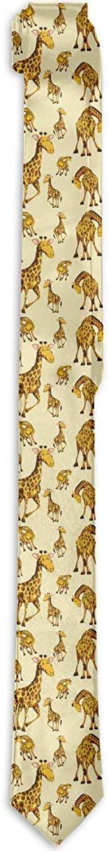 Men's Tie Giraffe Cute Animal Fashion Silk Skinny Ties Personalized Gift Neckties