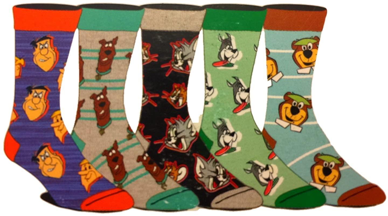 Scooby Doo Yogi Bear Tom & Jerry The Flintstones 5 Pair Crew Socks, Multi, One Size