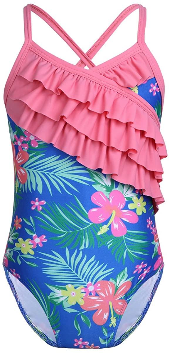Freebily Kids Girls Floral Hawaii Swimsuits Swimwear Ruffled Swimming Bikini Tops with Bottoms Bathing Surfing Suit