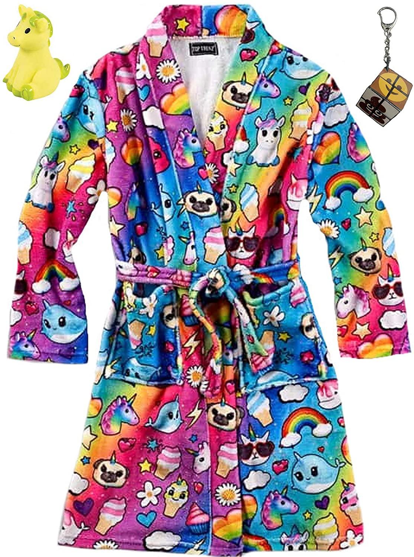 Unicorn Dreams Big Girls' Bath Robe, Emoji Cube Keychain & Unicorn Character Bundle Set (10-12)