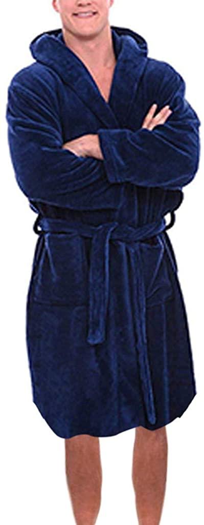 DICPOLIA Men's Winter Plush Bathrobe (S-5XL)   Home Pajamas Robe