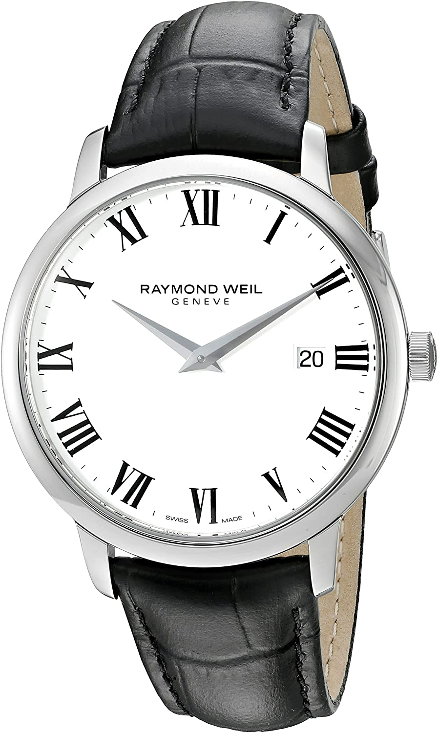 Raymond Weil Men's 'Toccata' Swiss Quartz Stainless Steel and Leather Watch, Color:Black (Model: 5488-STC-00300)