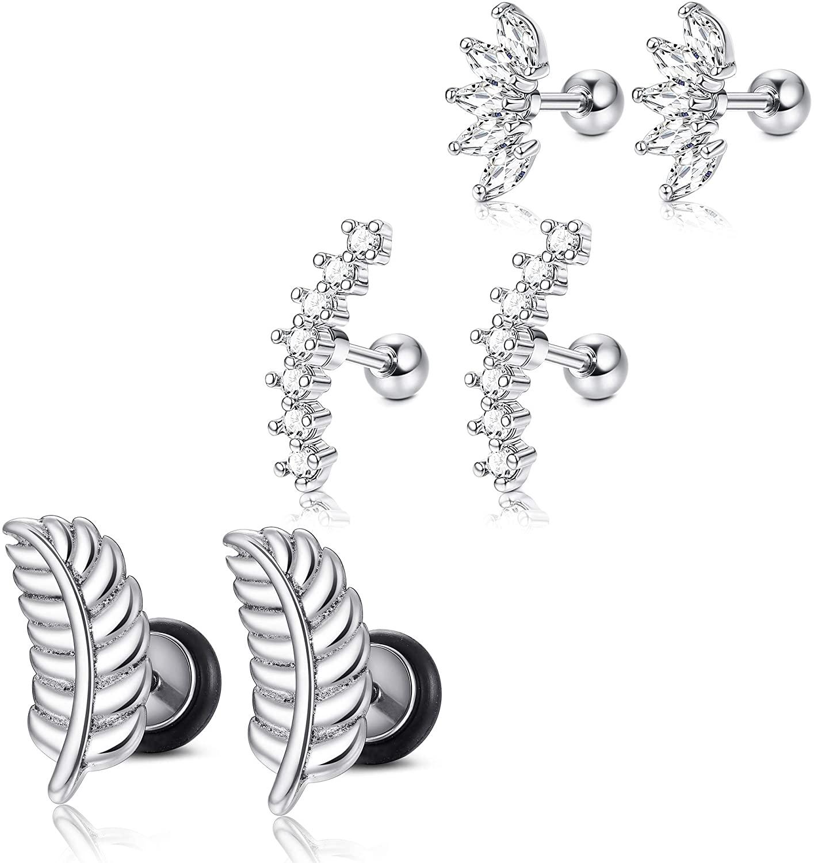 Hanpabum 3Pairs 16G Stainless Steel CZ Cartilage Stud Earrings for Women Girls Leaf Helix Barbell Piercing Jewelry Set