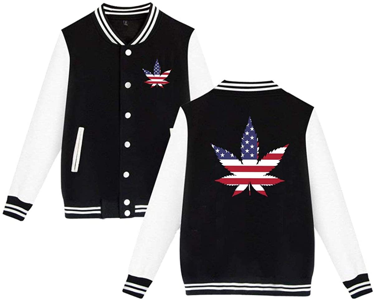 Butymeiyi Marijuana American Flag Mens & Womens Casual Style Hoodie Baseball Uniform Jacket Sport Coat