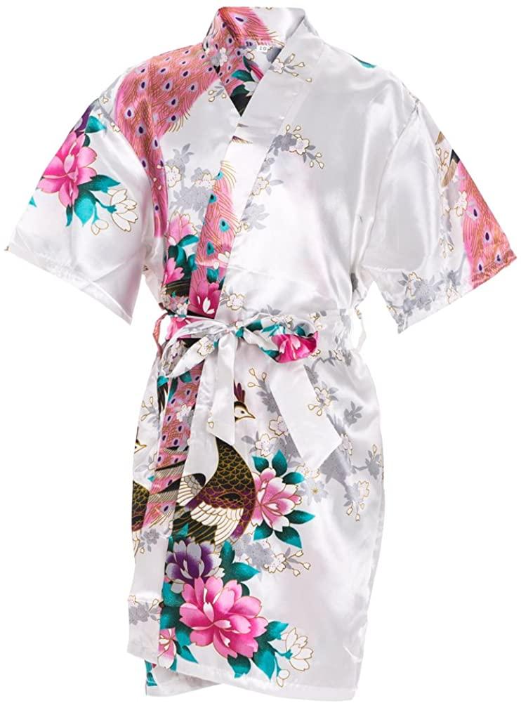 Kids' Satin Kimono Robe Peacoke Flower Girl Bathrobes for Spa Party Wedding Birthday