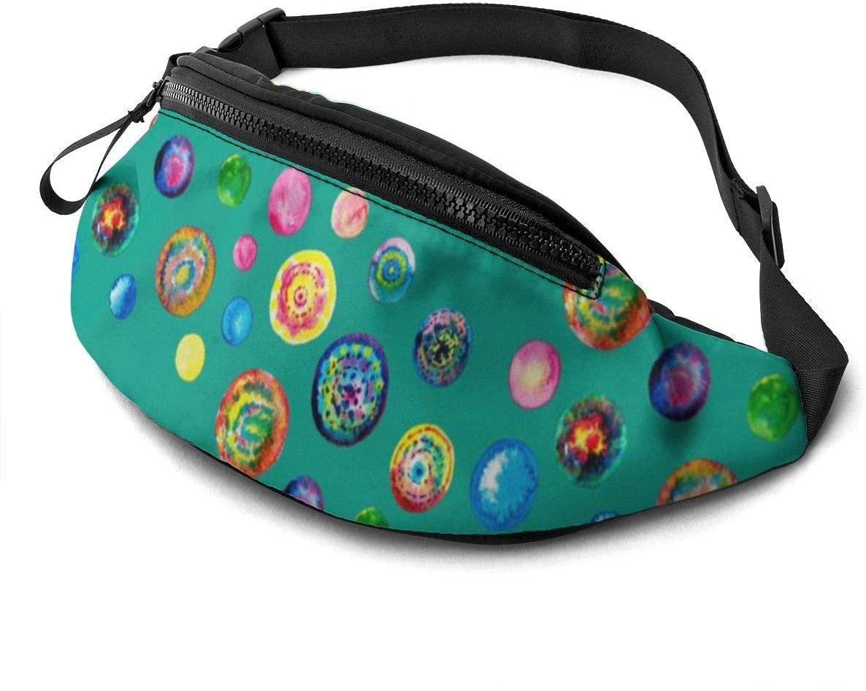 Shibori Batik Dots Fanny Pack for Men Women Waist Pack Bag with Headphone Jack and Zipper Pockets Adjustable Straps