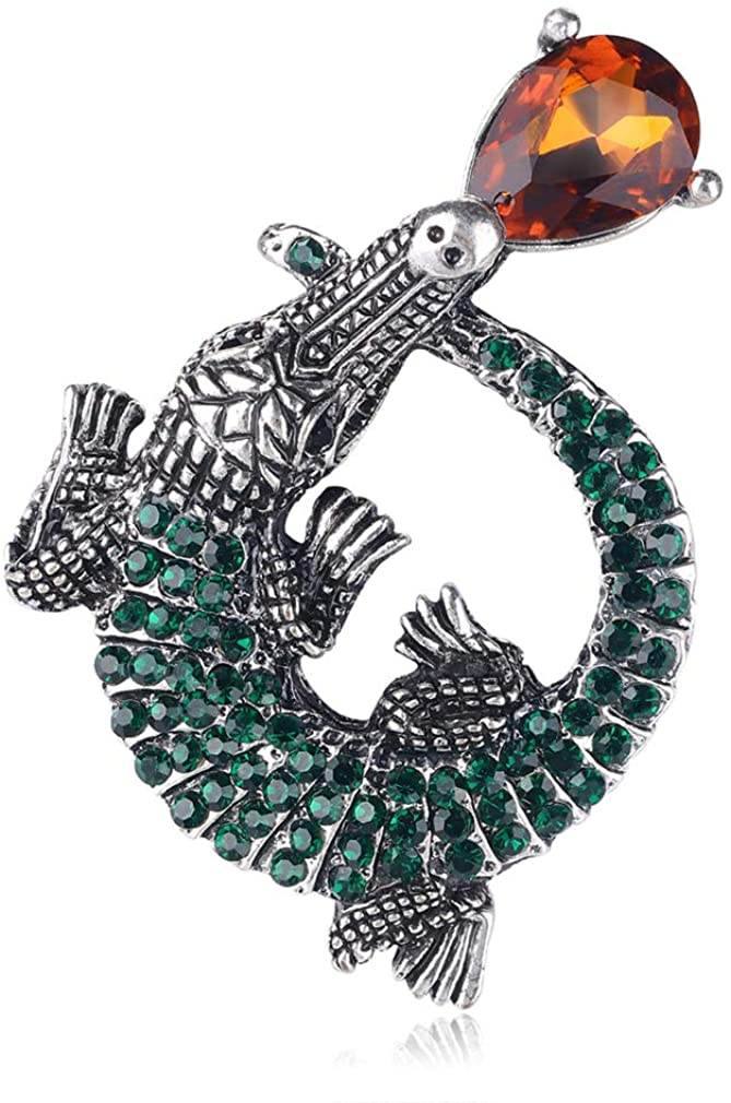 YAZILIND Alloy Crocodile Vintage Brooch Clothes Accessories Rhinestone Brooches Birthday Gifts Jewelry