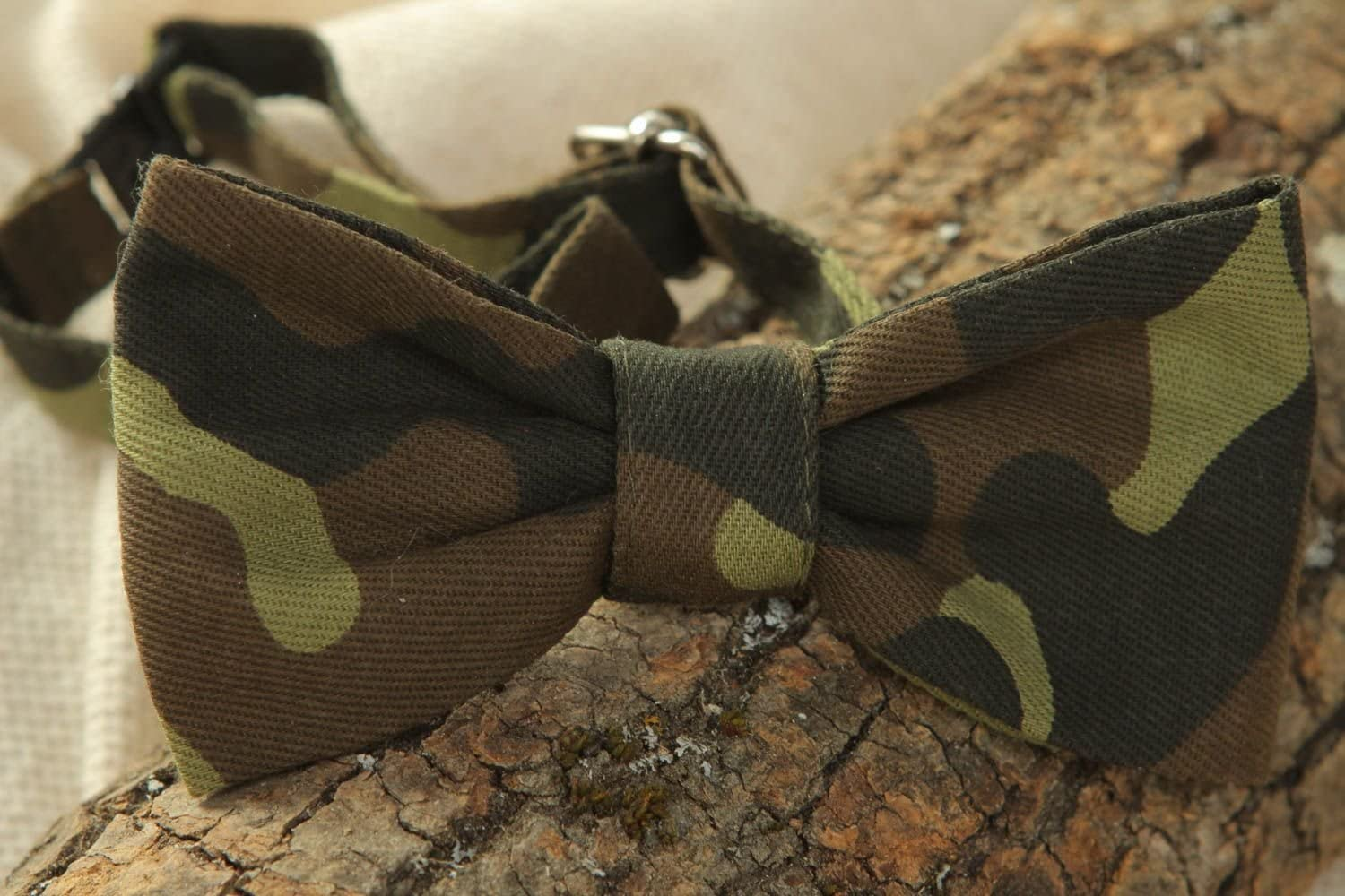 Cotton Fabric Bow Tie Of Camouflage Coloring
