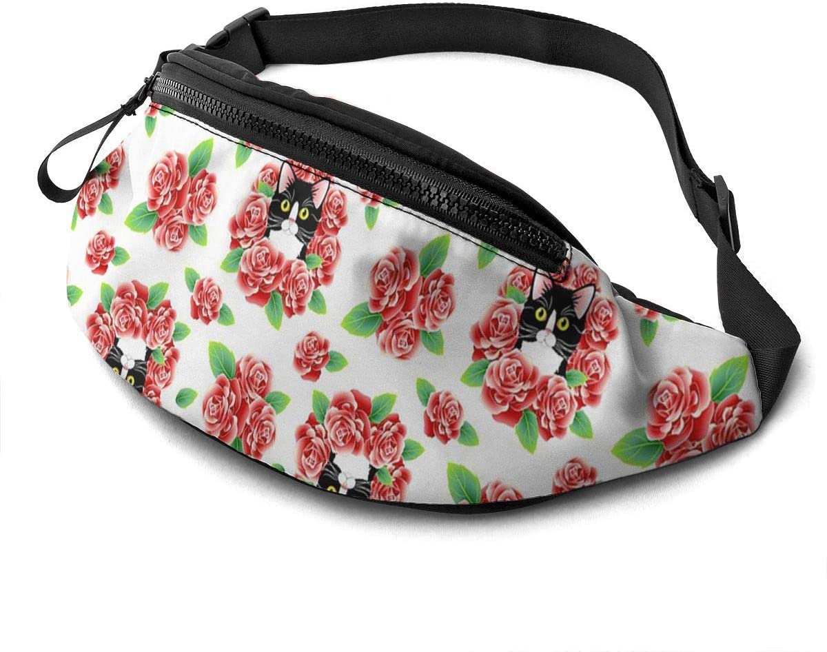 Tuxedo Cat And Roses Fanny Pack For Men Women Waist Pack Bag With Headphone Jack And Zipper Pockets Adjustable Straps