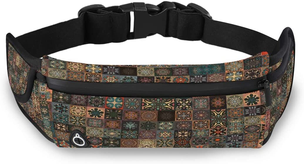 Ancient Floral Mandala Tribal Style Fashion Waist Pack Men Travelling Bag Sport Fanny Pack With Adjustable Strap For Workout Traveling Running