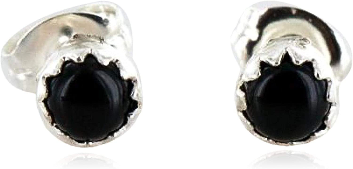 $50Tag Certified Silver Navajo Onyx Stud Native American Earrings 371124553391 Made By Loma Siiva
