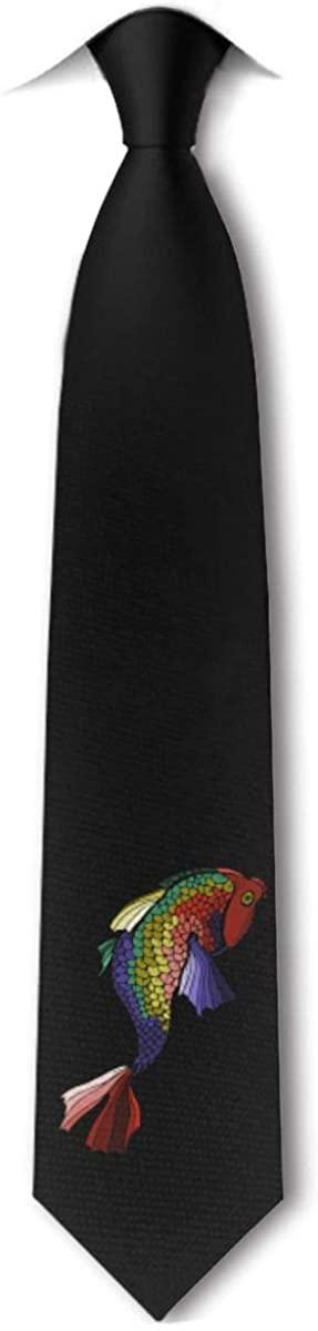 Koi Carp Pattern Mens Tie Hipster Skinny Neckwear Leisure Neckties