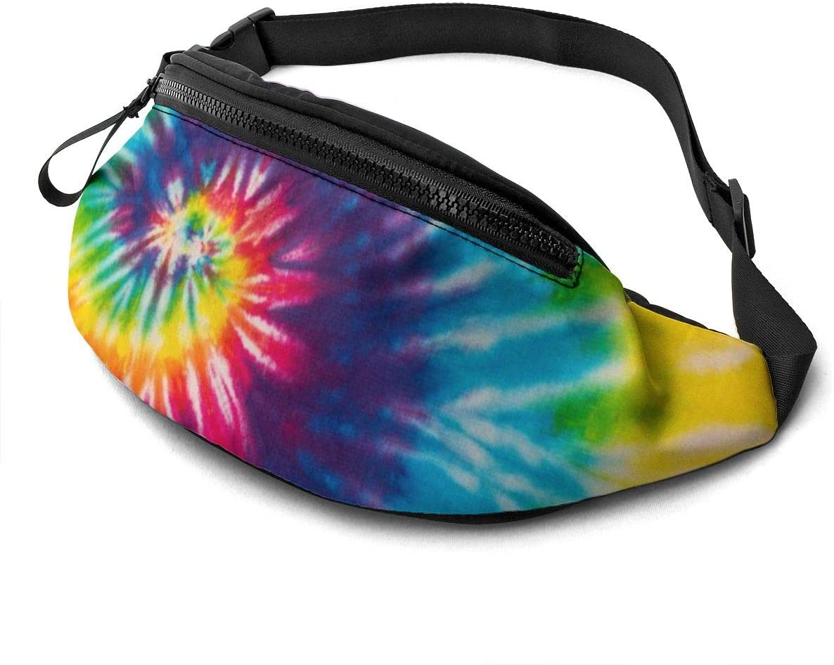 Dujiea Fanny Pack, Tie Dye Waist Bag with Headphone Hole Belt Bag Adjustable Sling Pocket Fashion Hip Bum Bag for Women Men Kids Outdoors Casual Travelling Hiking Cycling