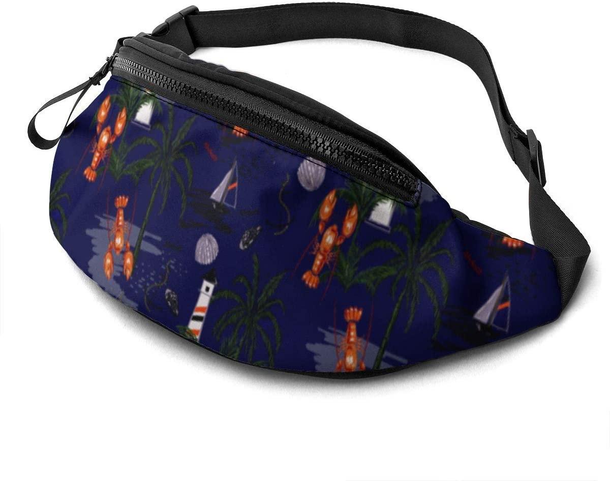 Lobster Sailboat Lighthouse Fanny Pack For Men Women Waist Pack Bag With Headphone Jack And Zipper Pockets Adjustable Straps