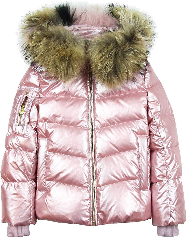 Lisa Rella Girls' Pink Goose Down Coat with Real Fur Trim, Sizes 7-16