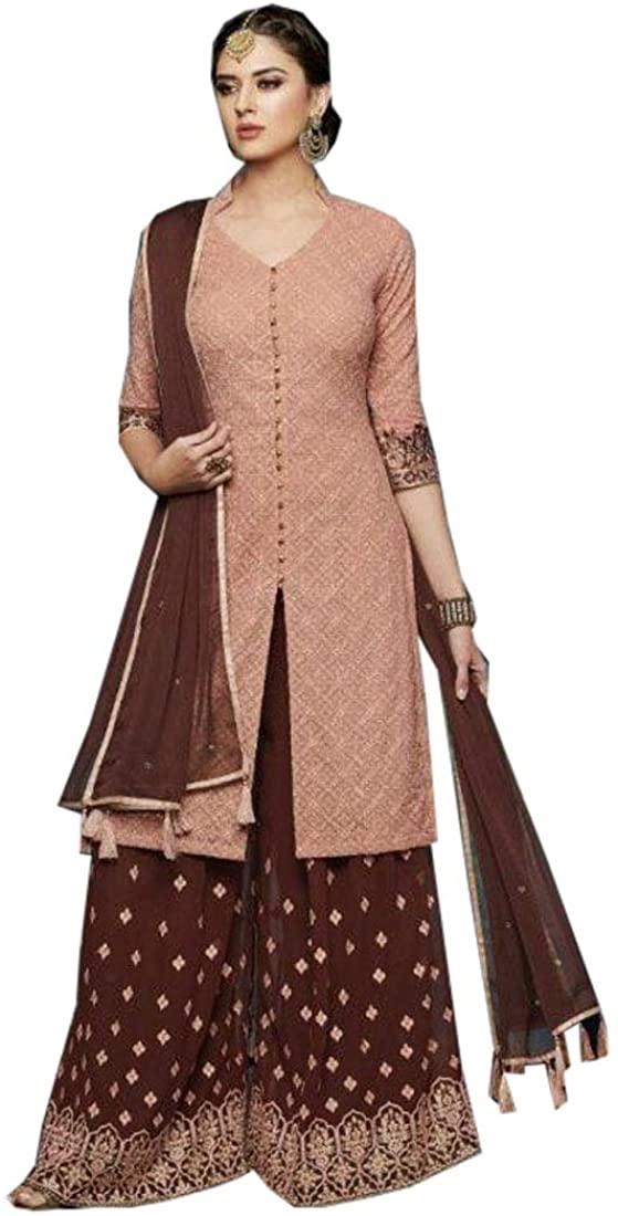 Brown Lucknowi Work Ethnic Indian Ready to wear Muslim Punjabi Palazzo Suit Sharara Salwar Kameez 9730