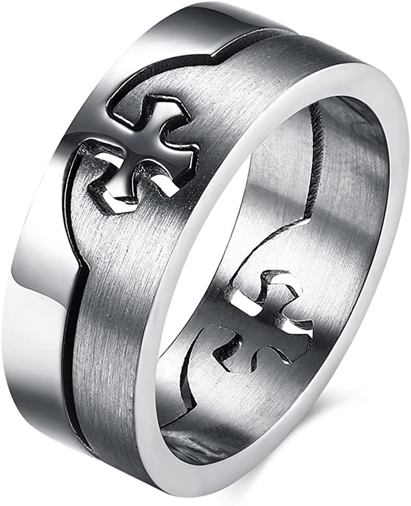 BEMI Classic Titanium Steel Engagement Ring Plain Band Cross Ring Polished Charm Matte Finished Size 7-10