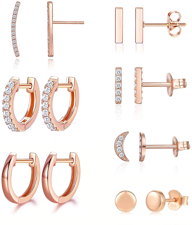 Earrings for Women Hoop Huggie Girls Ear Piercing Minimalist Cuff Mini Bar Dainty Stud Perfect for Gifting Rose Gold Plated AAA+ Cubic Zirconia Small Set 14pcs Earrings (14Pcs Set)