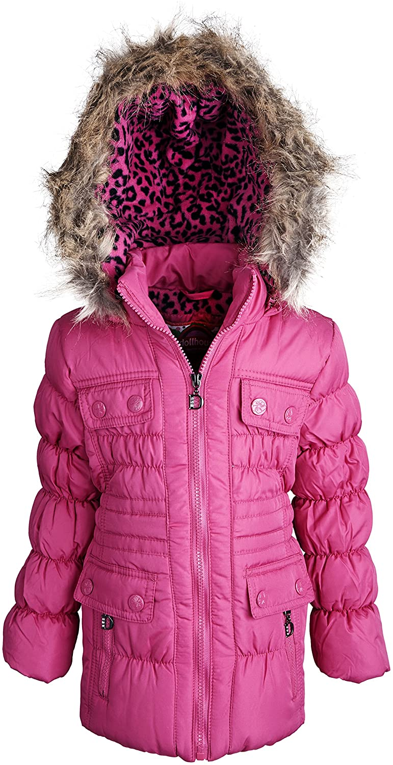 dollhouse Little Girls Down Alternative Waisted Puffer Coat with Removable Hood