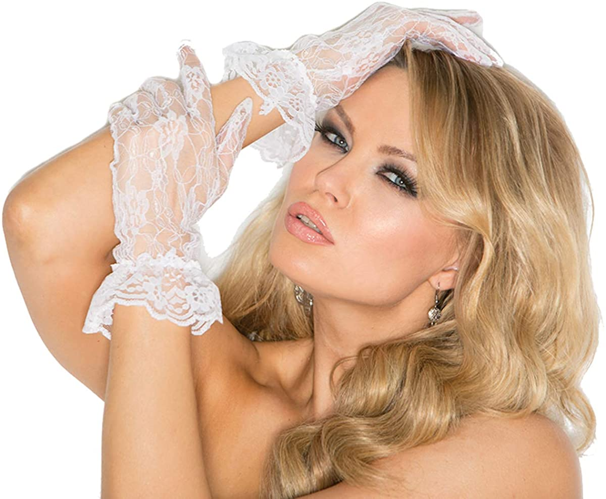 Sexy Women's Lace Wrist Length Gloves With Ruffle Trim