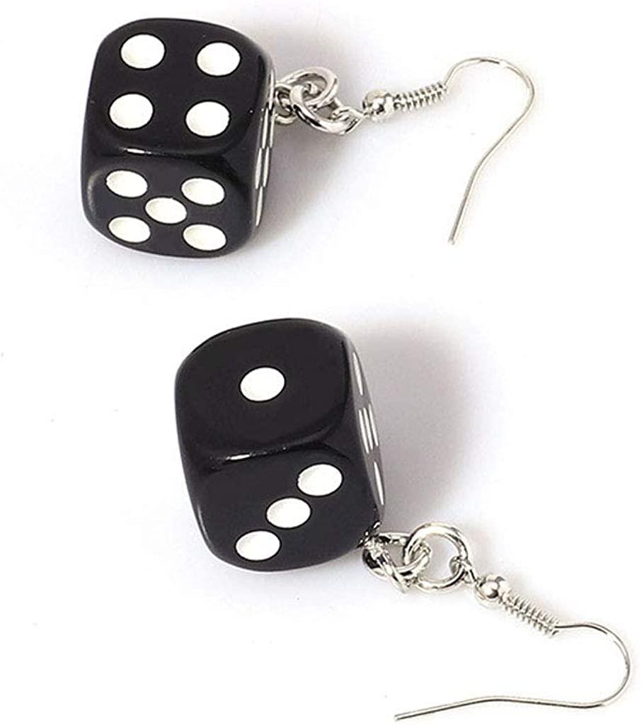 Ruzida Funny Dice Dangle Earrings Acrylic White Cube 3D Charm Drop Earrings Personality Pendant