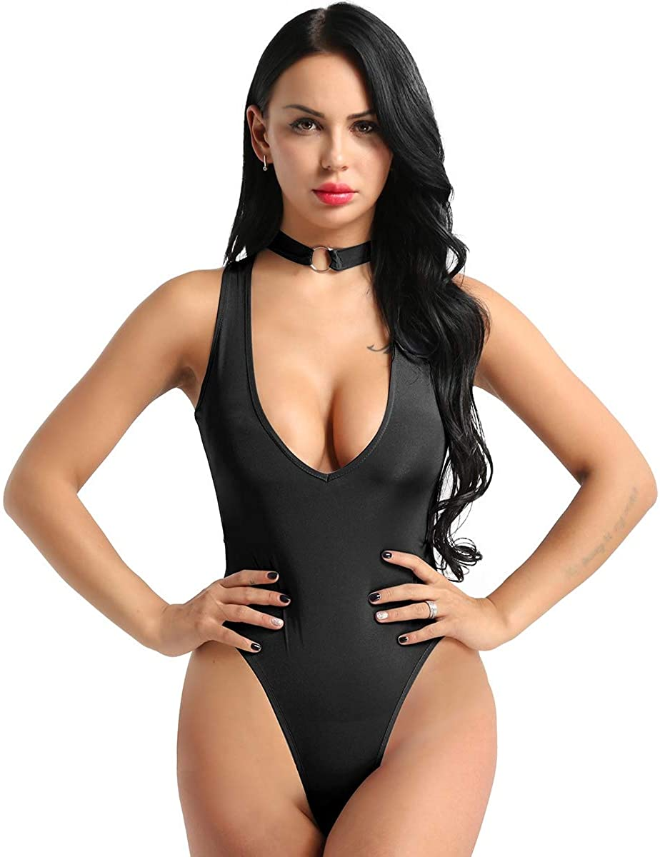 QinCiao Women Sexy One Piece Leotard Thong Bodysuit High Cut Crotchless Swimsuit Bodysuit Lingerie
