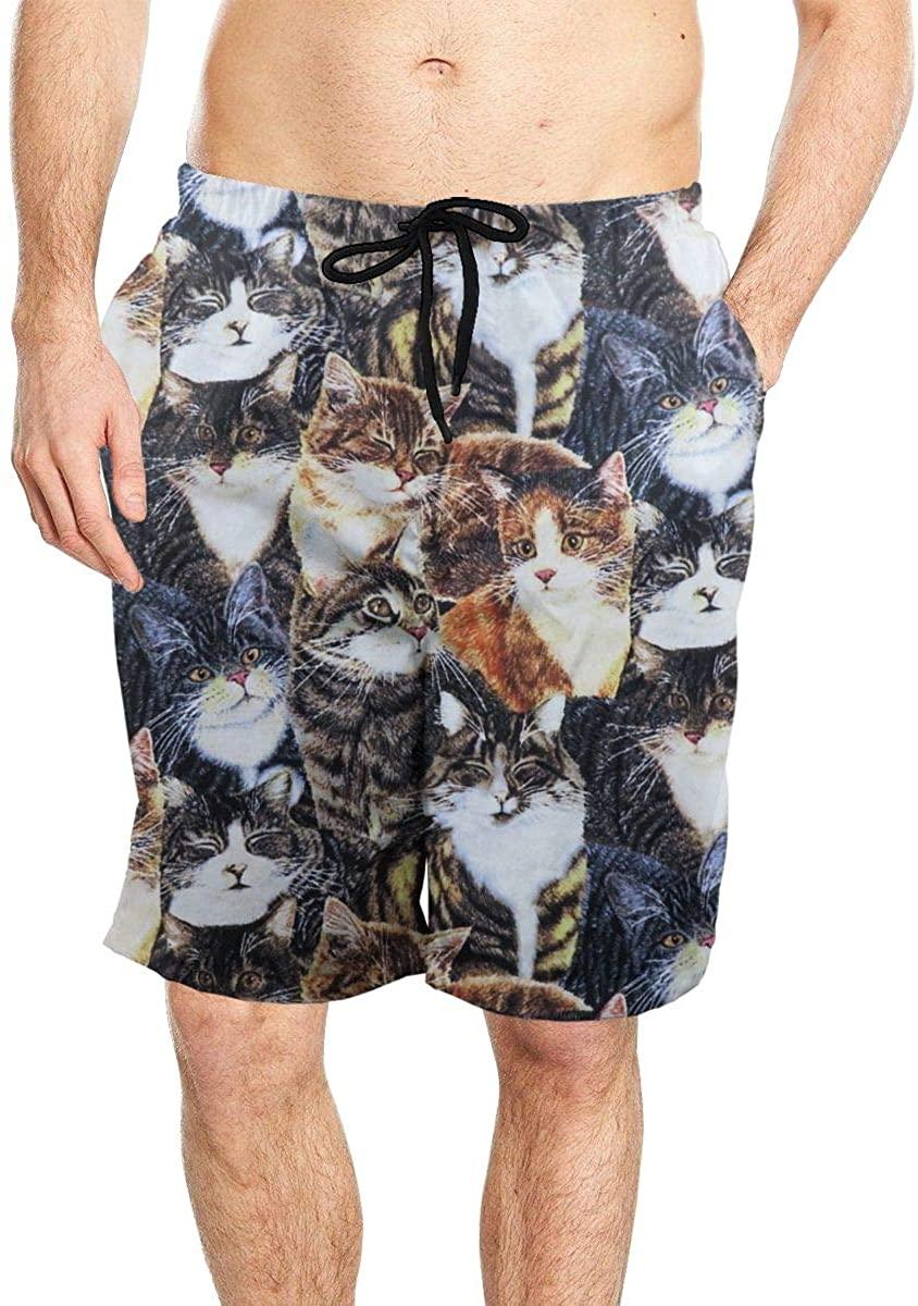 Packed Cats Men's Beach Board Shorts Colored Elastic Waist Swim Trunks Swimwear with Mesh Lining
